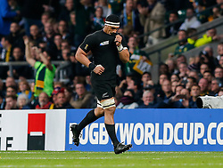 New Zealand Flanker Jerome Kaino runs off after being shown a yellow card by referee Jerome Garces - Mandatory byline: Rogan Thomson/JMP - 07966 386802 - 24/10/2015 - RUGBY UNION - Twickenham Stadium - London, England - South Africa v Wales - Rugby World Cup 2015 Semi Finals.
