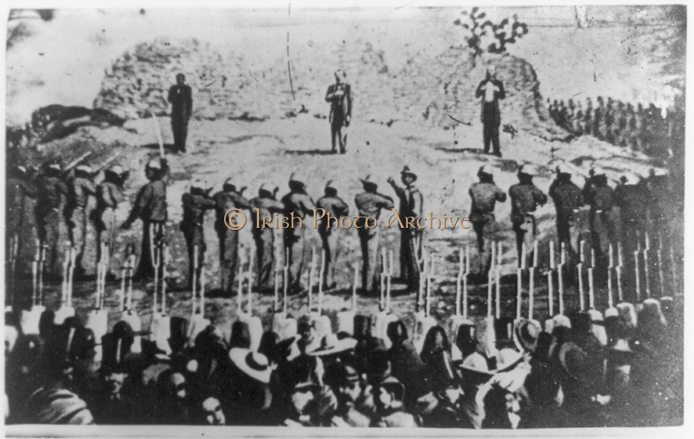 Execution of Emperor Maximilian I of Mexico with his generals Miguel Miramon and Tomas Mejia by firing squad, 19 June 1867.  Maximilian (1832-1967) was born Archduke Ferdinand Maximilian Joseph of Austria and was proclaimed Emperor of Mexico on 10 April 1864 with the backing of Napoleon III of France. Few foreign government recognised his regime, which was also the case with Mexican liberals.  The ensuing conflict ended with the Emperor's execution. Photograph.