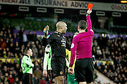 Wolverhampton Wanderers goalkeeper Carl Ikeme (1) is shown the red card during the EFL Sky Bet Championship match between Norwich City and Wolverhampton Wanderers at Carrow Road, Norwich, England on 21 January 2017. Photo by Nigel Cole.