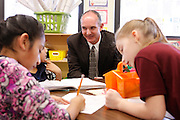 David Montague is the founder of the  Memphis Teacher Residency program. He is visiting with children in the classes where his MTR teachers are teaching in the Memphis public school, Kingsbury Elementary.