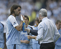Photo: Aidan Ellis.<br /> Manchester City v West Ham United. The Barclays Premiership. 23/09/2006.<br /> City's Georgios Samaras eats some tablets that the doc gives him