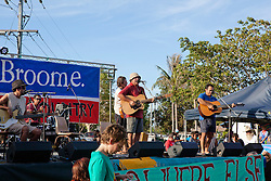 The Pigram Brothers play to the crowd at the 10 December 2011 Community Rally at Town Beach in Broome.