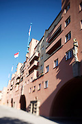 "Karl Marx-Hof, a famous ""Gemeindebau"" (public housing project), built 1927-30 by Karl Ehn, a disciple of Otto Wagner. Flags for national day celebrations (26th October)."