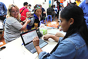 OR Nurse Jessica Ryes from the USA and Lindsay Anderson from the UK using Vitrio during screening with patient 231..<br /> 25th Anniversary of Operation Smile in Vietnam mission November 15th - 23rd 2014.  Vietnam Cuba Friendship Hospital. Hanoi. Vietnam.<br /> <br /> (Operation Smile Photo - Zute Lightfoot)