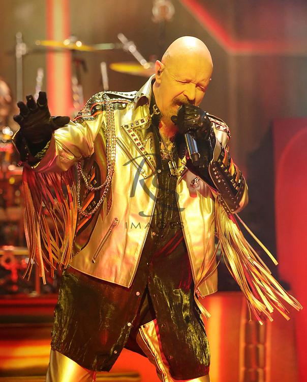 Rob Halford of Judas Priest performs on Tuesday, April 24, 2018, in Phoenix, Arizona. (AP Images/Rick Scuteri)