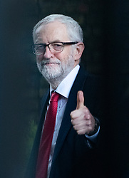 © Licensed to London News Pictures. 03/04/2019. London, UK. Labour Party Leader Jeremy Corbyn gives a thumbs up to a well wisher as he heads to talks with Prime Minister Theresa May to seek a way forward with the Brexit deadlock. Photo credit: Peter Macdiarmid/LNP