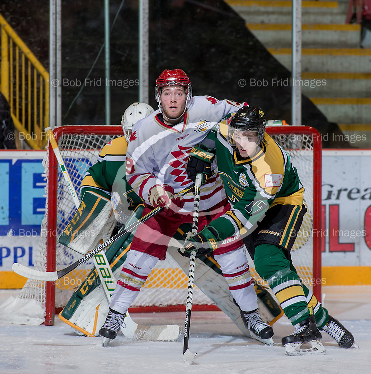 20 November 2015: Action during a game between the Chilliwack Chiefs and Powell River Kings at Prospera Centre, Chilliwack, BC.    ****(Photo by Bob Frid - All Rights Reserved 2015): mobile: 778-834-2455 : email: bob.frid@shaw.ca ****