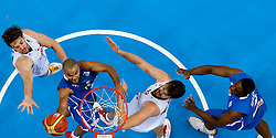 Tony Parker of France and Kevin Seraphin of France vs Pau Gasol of Spain and Marc Gasol of Spain during final basketball game between National basketball teams of Spain and France at FIBA Europe Eurobasket Lithuania 2011, on September 18, 2011, in Arena Zalgirio, Kaunas, Lithuania. Spain defeated France 98-85 and became European Champion 2011, France placed second and Russia third. (Photo by Vid Ponikvar / Sportida)