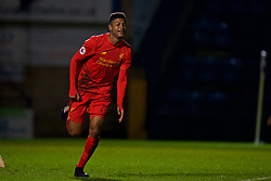 HIGH WYCOMBE, ENGLAND - Monday, March 6, 2017: Liverpool's Rhian Brewster celebrates scoring the third goal against, his second, Reading during FA Premier League 2 Division 1 Under-23 match at Adams Park Stadium. (Pic by David Rawcliffe/Propaganda)