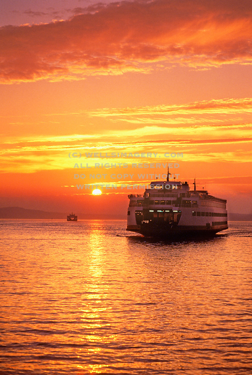 Image of Washington State Ferry on Puget Sound at sunset, Seattle, Washington, Pacific Northwest