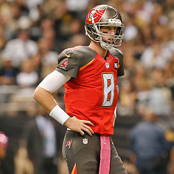 Oct 5, 2014; New Orleans, LA, USA; Tampa Bay Buccaneers quarterback Mike Glennon (8) against the New Orleans Saints during the first quarter of a game at Mercedes-Benz Superdome. Mandatory Credit: Derick E. Hingle-USA TODAY Sports