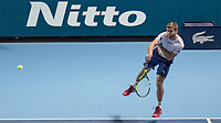 Tennis - 2017 Nitto ATP Finals at The O2 - Day Three<br /> <br /> Mens Doubles: Group Eltingh/Haarhus: Pierre-Hugues Herbert (France) & Nicolas Mahut (France) Vs Ryan Harrison (United States) & Micheal Venus (New Zealand)<br /> <br /> Ryan Harrison (United States) serves at the beginning of the game at the O2 Arena <br /> <br /> COLORSPORT/DANIEL BEARHAM