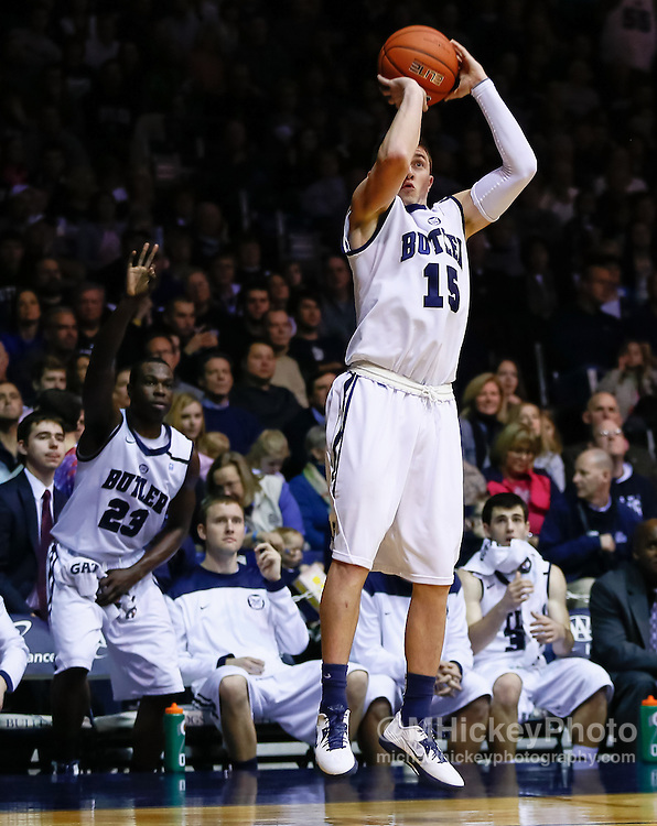 INDIANAPOLIS, IN - FEBRUARY 02: Rotnei Clarke #15 of the Butler Bulldogs shoots a three pointer against the Rhode Island Rams at Hinkle Fieldhouse on February 2, 2013 in Indianapolis, Indiana. Butler defeated Rhode Island 75-68. (Photo by Michael Hickey/Getty Images) *** Local Caption *** Rotnei Clarke