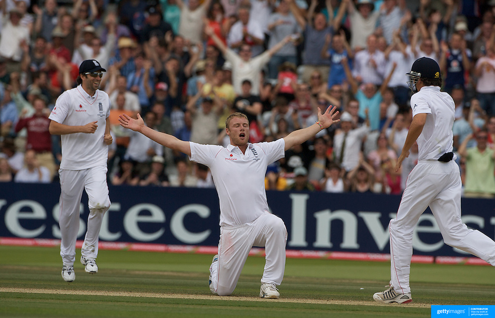 Andrew Flintoff celebrates after bowling Peter Siddle during the England V Australia  Ashes Test series at Lords, London, on Monday, July 20, 2009. Photo Tim Clayton.
