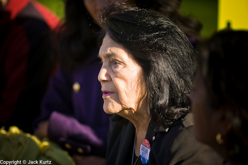 "07 DECEMBER 2010 - PHOENIX, AZ:  DOLORES HUERTA speaks out on behalf of the DREAM Act in the front of the offices of US Sen. John McCain in Phoenix Tuesday.  Huerta, who started working in the civil rights movement in the 1960's, threw her support behind students fasting on behalf of the DREAM Act in front of Sen. John McCain's office Tuesday. The student picked McCain's office because he used to support the DREAM Act. They hope that the US Senate will pass the DREAM Act during its ""lame duck"" session. The Senate debated and defeated similar legislation just before the November general election.   PHOTO BY JACK KURTZ"