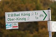 Fahrrad-Wegweiser, Odenwald, Naturpark Bergstraße-Odenwald, Hessen, Deutschland | cycling signpost, Odenwald, Hessen, Germany