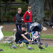 A young family feed the birds in the grounds of the Auckland Domain, Auckland, New Zealand, 8th November 2010. Photo Tim Clayton