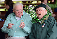 FALLSINGTON, PA -  SEPTEMBER 14:  Tom Mullarkey, of Fairless Hills, Pennsylvania and Ted Ryan (right) of Levittown, Pennsylvania share a laugh at the Irish Festival September 14, 2013 in Fallsington, Pennsylvania. (Photo by William Thomas Cain/Cain Images)