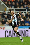 Andy Carroll of Newcastle United on the attack during the The FA Cup third round replay match between Newcastle United and Rochdale at St. James's Park, Newcastle, England on 14 January 2020.