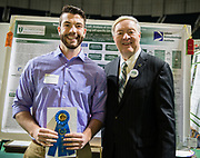 Cody Wilson poses for a picture with Ohio University President Duane Nellis during the 2018 Student Research Expo.