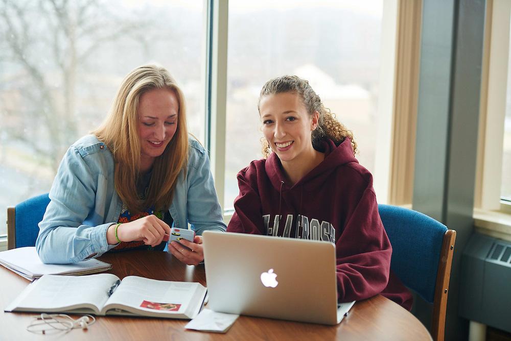 -UWL UW-L UW-La Crosse University of Wisconsin-La Crosse; Books; Chair; Collaborating; Computer; Desk; Inside; Notepad; Phone Cell Smartphone; Reading; Residence dorm; Smiling; Socializing; Studying; Talking