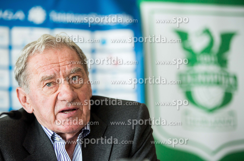 Milan Mandaric, president of Olimpija during presentation of a new head coach Mr. Vanoli of NK Olimpija, on April 22, 2016 in Austria Trend Hotel, Ljubljana, Slovenia. Photo by Vid Ponikvar / Sportida