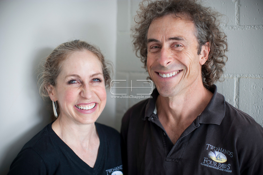 September 28th, 2011. Los Angeles, California. Canine rehab facility Two Hands Four Paws offers treatments like acupuncture, massage, and swim therapy for dogs. Pictured is founder and president of Two Hands Four Paws, Leslie G. McMahon with her husband Bryan McMahon..PHOTO © JOHN CHAPPLE / www.johnchapple.com