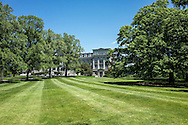 Lawn and Mertz Library building at the New York Botanical Garden, Bronx, New York
