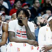 23 December 2016: LA Clippers forward Wesley Johnson (33), LA Clippers center DeAndre Jordan (6) and LA Clippers forward Paul Pierce (34) are seen on the bench during the Dallas Mavericks 90-88 victory over the LA Clippers, at the Staples Center, Los Angeles, California, USA.
