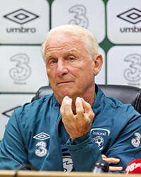 CARDIFF, WALES - Tuesday, August 13, 2013: Republic of Ireland's head coach Giovanni Trapattoni during a press conference at the Cardiff City Stadium ahead of the International Friendly match against Wales. (Pic by David Rawcliffe/Propaganda)