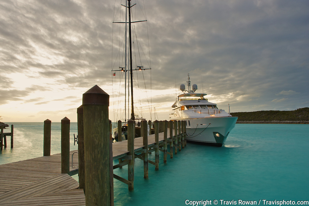 M/Y Primadonna docked at the beuatiful tropical outpost of Samson Cay, Bahamas.