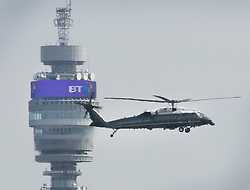 © Licensed to London News Pictures. 12/07/2018. London, UK. President Trump comes into land past the BT Tower on Marine One at the Regent's Park home of the US Ambassador at the start of his visit to the UK.  Photo credit: Peter Macdiarmid/LNP