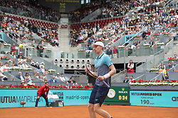 May 12, 2018 - Madrid, Madrid, Spain - KEVIN ANDERSON celebrates in a match against DOMINIC THIEM during the semi finals of Mutua Madrid Open 2018 - ATP in Madrid. DOMINIC THIEM won the match 6-4 6-2. (Credit Image: © Patricia Rodrigues via ZUMA Wire)