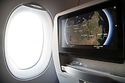 long distance travel route information on airplane seat screen display
