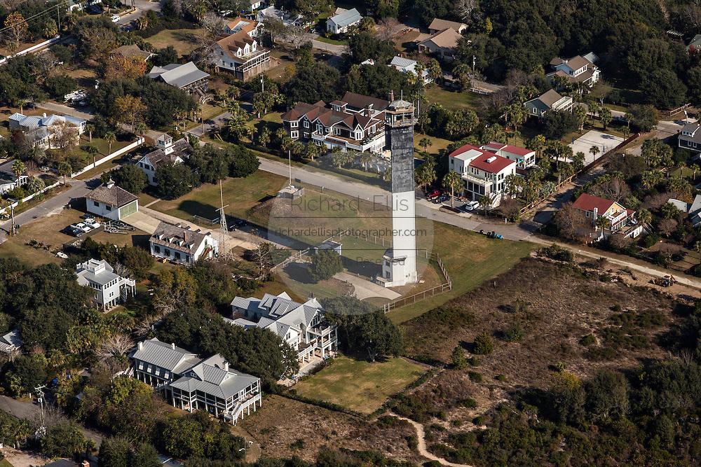 Aerial view of Charleston Light house in Sullivan's Island, SC.