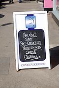 Fish shop menu board sign Aldeburgh, Suffolk