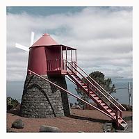 Retro image of Pico island windmill