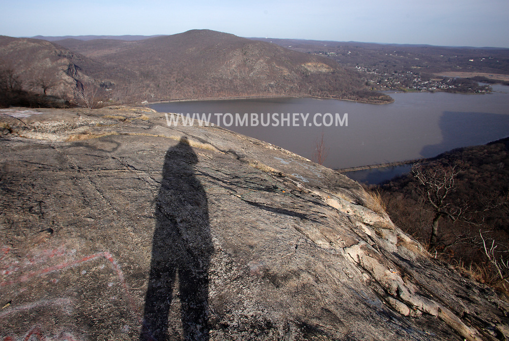 Cornwall, New York - The shadow of the photographer is visible on the rocks in this view from Storm King Mountain State Park on March 27, 2010.