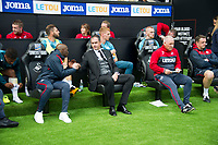 Football - 2017 / 2018 Premier League - Swansea City vs. Manchester United<br /> <br /> Swansea City manager Paul Clement next to former assistant coach at Chelsea, coaching now at Swansea —<br /> , at Liberty Stadium.<br /> <br /> COLORSPORT/WINSTON BYNORTH