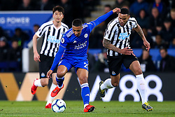 Youri Tielemans of Leicester City takes on Jamaal Lascelles of Newcastle United - Mandatory by-line: Robbie Stephenson/JMP - 12/04/2019 - FOOTBALL - King Power Stadium - Leicester, England - Leicester City v Newcastle United - Premier League