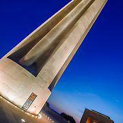 Dusk vertical photo of Liberty Memorial at the National World War One Museum in Kansas City, Missouri.