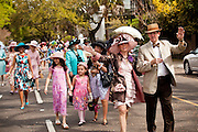 CHARLESTON, SC - APRIL 3: Archie Burkel (L) leads the Charleston Hat Ladies Society annual Easter Hat Promenade April 3, 2010 through downtown Charleston, SC. About 200 women and men wearing hats participated in the parade held annually for charity.     (Photo Richard Ellis)