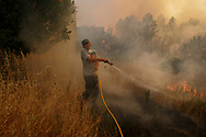 LEIRIA, PORTUGAL - JUNE 19:  A local man battles a fire as it arrives to his village after a wildfire took dozens of lives on June 19, 2017 near Castanheira de Pera, in Leiria district, Portugal. On Saturday night, a forest fire became uncontrollable in the Leiria district, killing at least 62 people and leaving many injured. Some of the victims died inside their cars as they tried to flee the area.  (Photo by Pablo Blazquez Dominguez/Getty Images)
