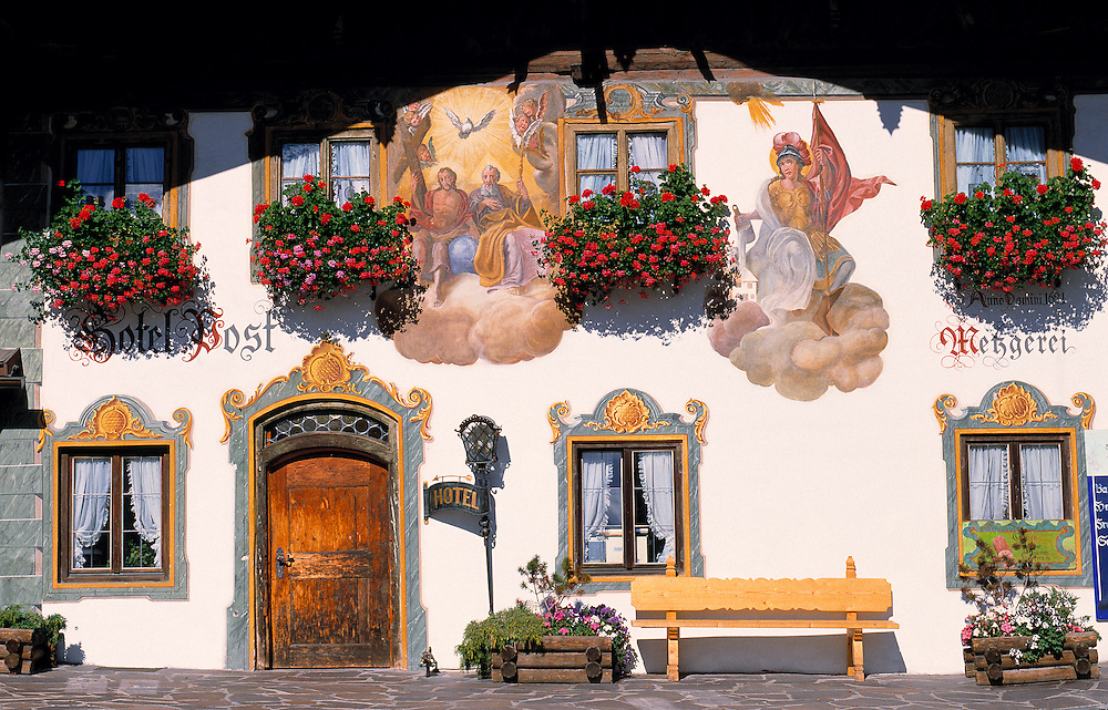 Hand-painted houses, such as this one in Wallgau, are a tradition in parts of Bavaria, Germany.