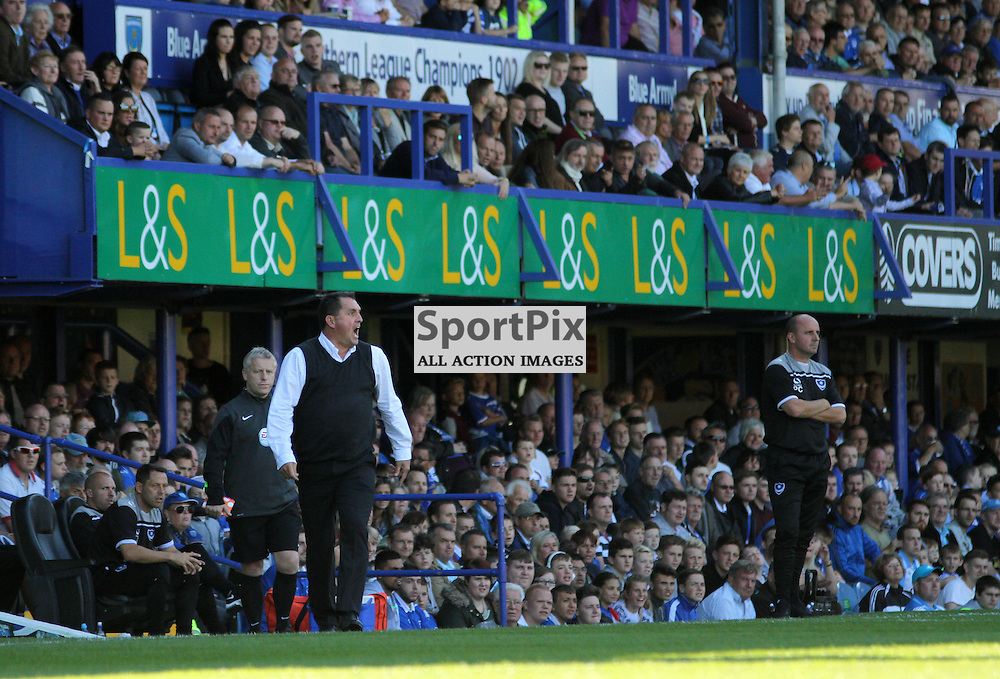 Barnet Manager Martin Allen Protests During Portsmouth vs Barnet on Saturday 12th September 2015.