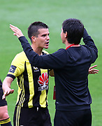 Phoenix's Andrija Kaludjerovic celebrates his 1st goal with Wellington Phoenix coach, Darje Kalezic during the Round 9 Hyundai A-League football match between the Wellington Phoenix & Melbourne Victory at Westpac Stadium, Wellington. 3rd December 2017. © Copyright Photo: Grant Down / www.photosport.nz
