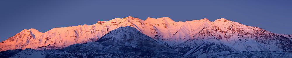 Timpanogos with pink sunset light