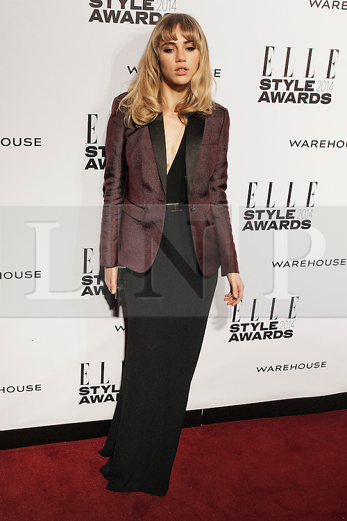 © Licensed to London News Pictures. 18/02/2014. London, UK. Suki Waterhouse arrives on the red carpet for the Elle Style Awards on the Embankment in central London. Photo credit : Andrea Baldo/LNP