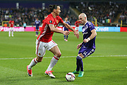 Zlatan Ibrahimovic Forward of Manchester United takes on Anderlecht Defender Bram Nuytinck during the UEFA Europa League Quarter-final, Game 1 match between Anderlecht and Manchester United at Constant Vanden Stock Stadium, Anderlecht, Belgium on 13 April 2017. Photo by Phil Duncan.