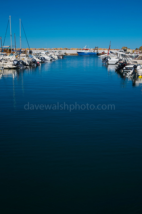 Boats in the harbour in Banyuls Sur Mer,  Cote Vermeille, Pyrenees Orientale, France.
